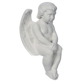 Cherub angel in composite white Carrara marble 15,75in s2