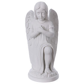 Praying angel, left, in reconstituted white Carrara marble 30 cm s1
