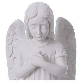 Praying angel, left, in reconstituted white Carrara marble 30 cm s2