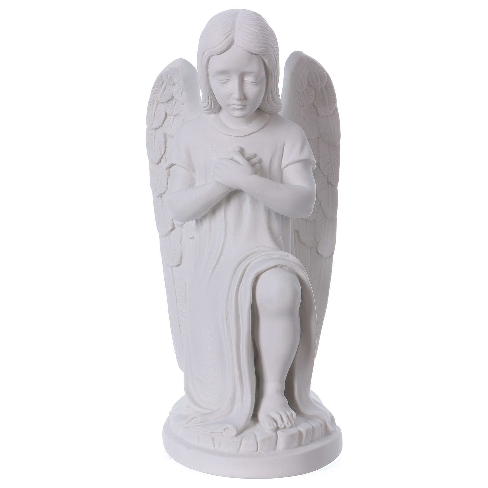 Praying angel, left, in reconstituted white Carrara marble 30 cm 4