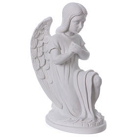 Praying angel, left, in reconstituted white Carrara marble 30 cm s4