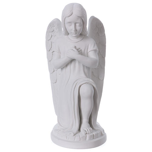Praying angel, left, in reconstituted white Carrara marble 30 cm 1