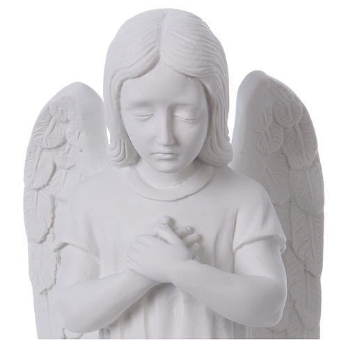 Praying angel, left, in reconstituted white Carrara marble 30 cm 2