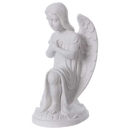 Praying angel, left, in reconstituted white Carrara marble 30 cm 3