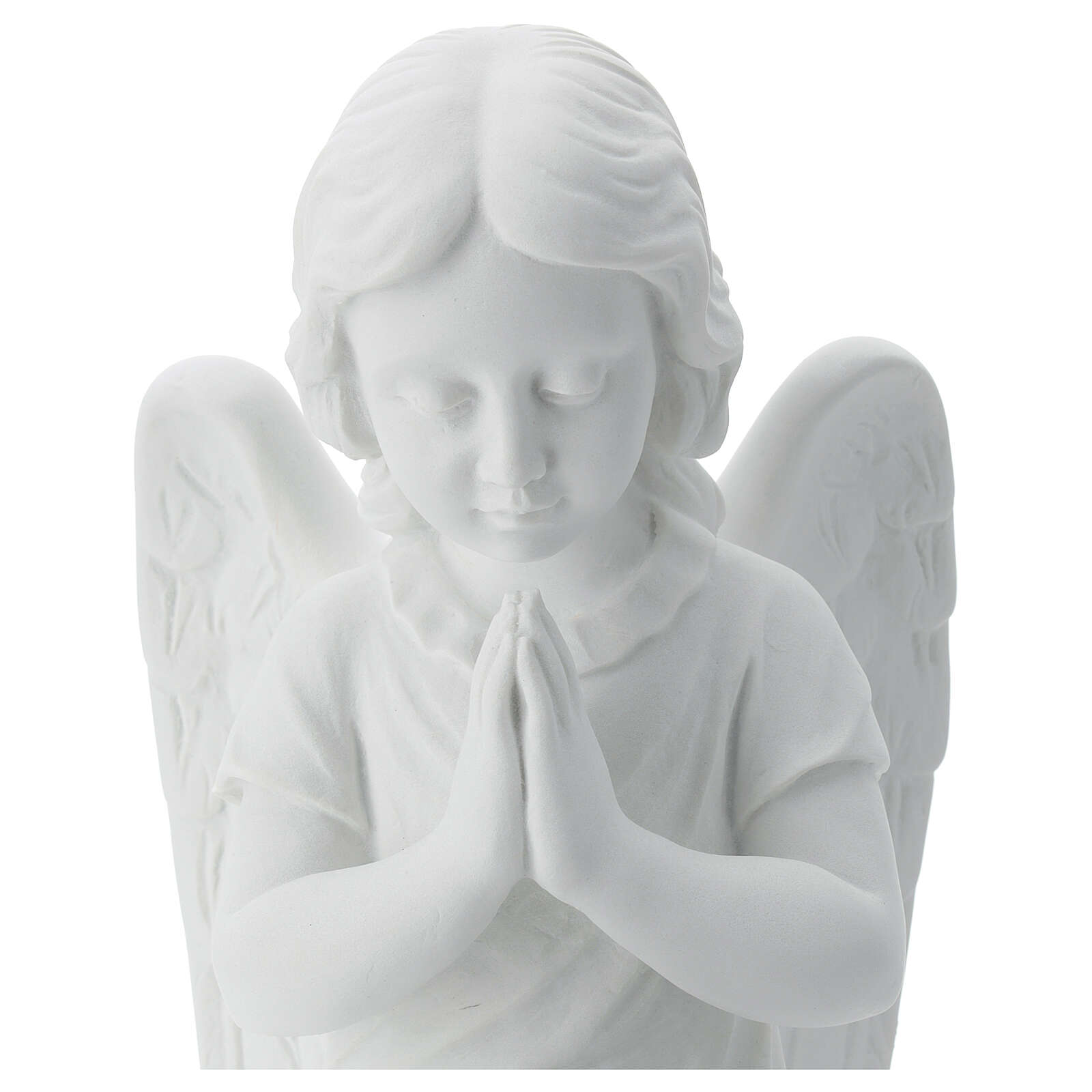 Praying angel, right, in reconstituted white Carrara marble 13,3 4