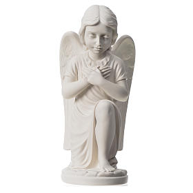 Praying angel, right, in reconstituted white Carrara marble 13,3 s5