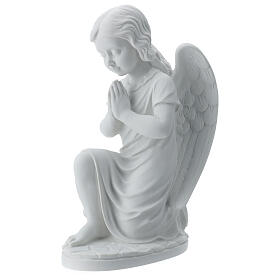 Praying angel, right, in reconstituted white Carrara marble 13,3 s1