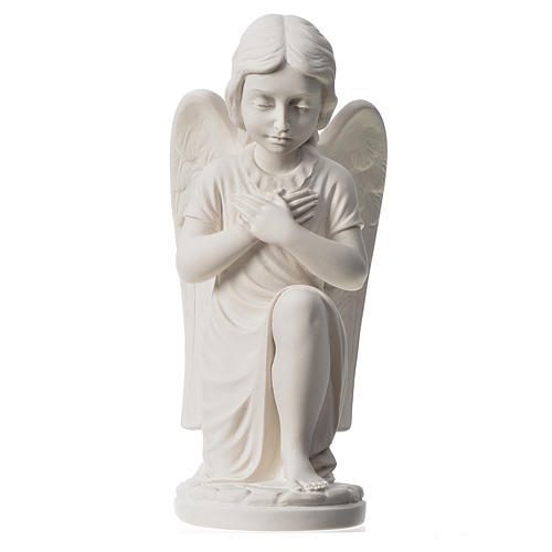 Praying angel, right, in reconstituted white Carrara marble 13,3 1