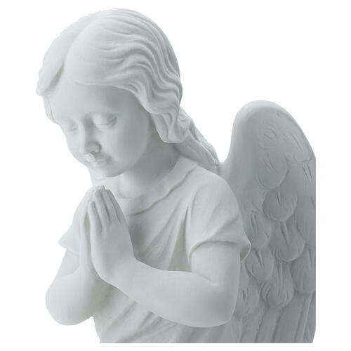 Praying angel, right, in reconstituted white Carrara marble 13,3 5