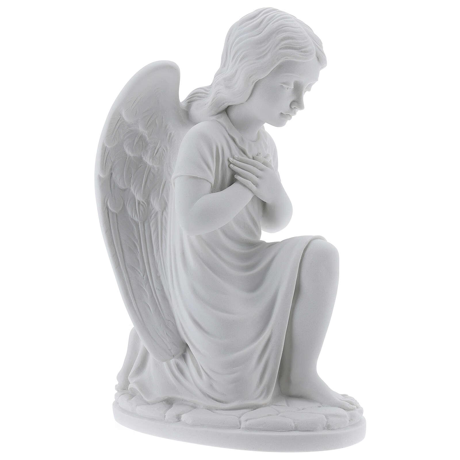 Angelito izquierda manos cruzadas mámol blanco 34 cm 4