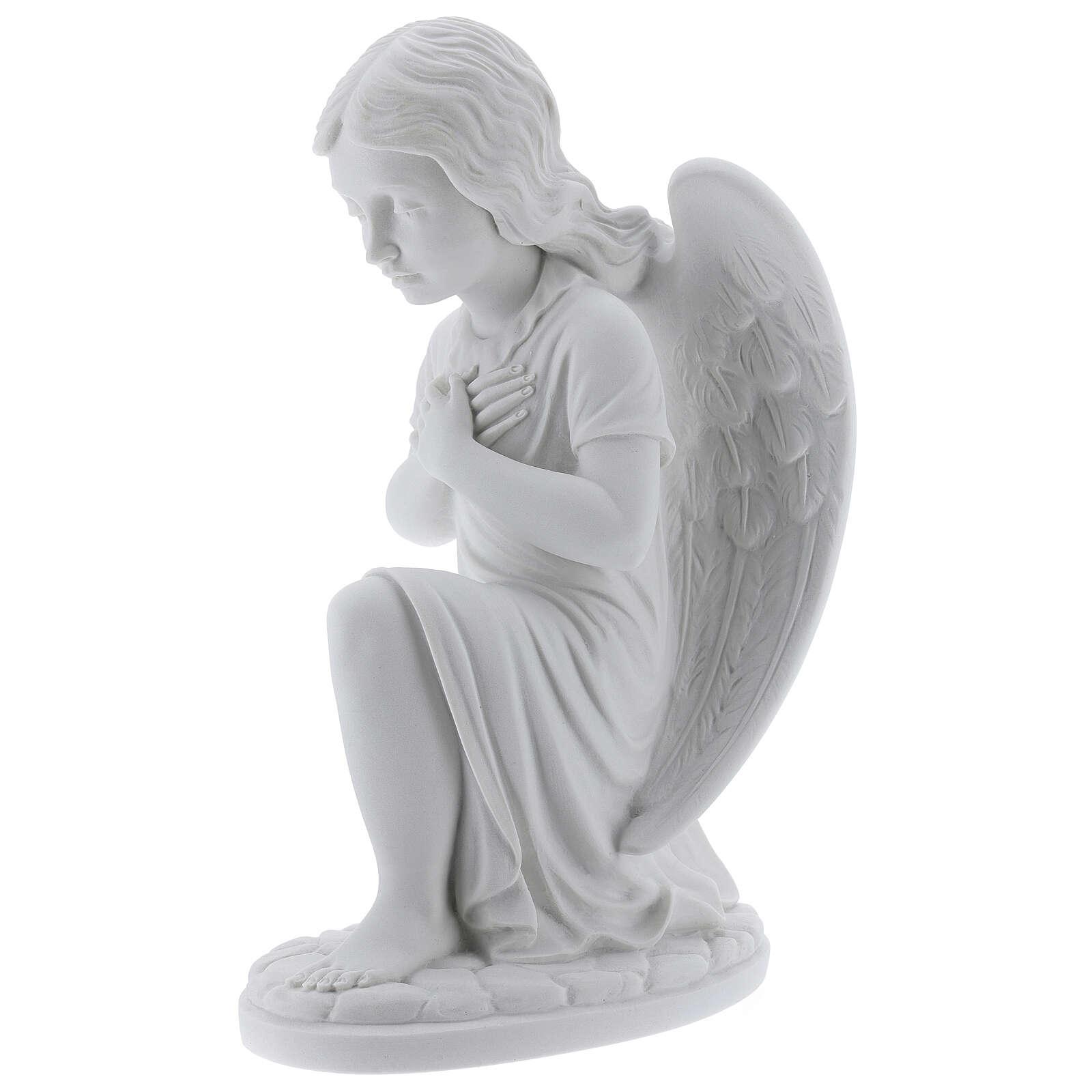 Anjo mãos no coração de joelhos mármore branco de Carrara 34 cm 4