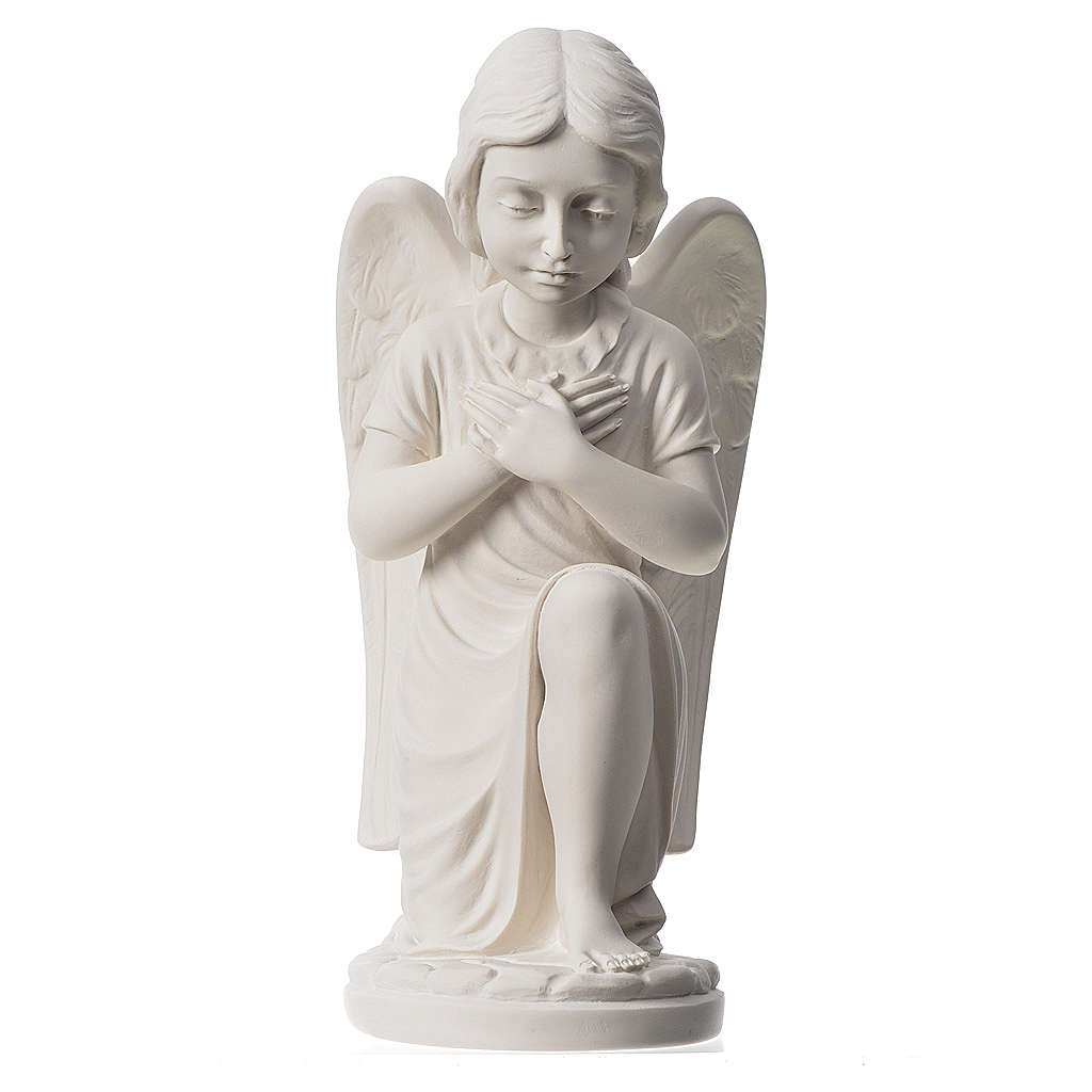 Praying angel, right, in composite white Carrara marble 13,3 4