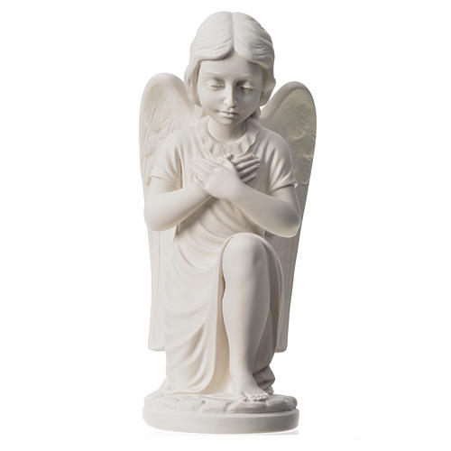 Praying angel, right, in composite white Carrara marble 13,3 5