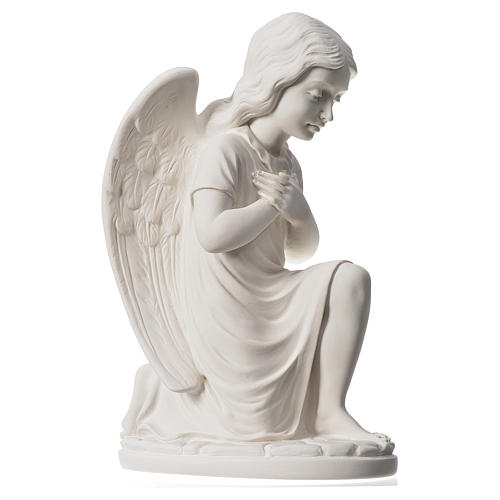 Praying angel, right, in reconstituted white Carrara marble 13,3 3