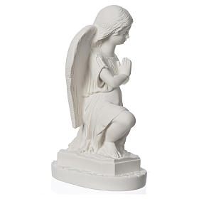 Angel with hands joined in reconstituted Carrara marble 11,02in s3