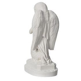 Angel with hands joined in reconstituted Carrara marble 11,02in s4