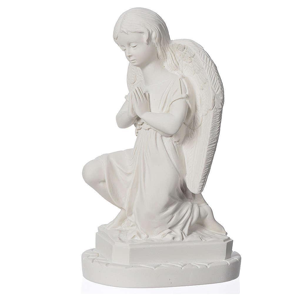 Anjo mãos juntas 28 cm mármore branco 4