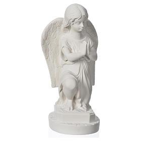 Anjo mãos juntas 28 cm mármore branco s5