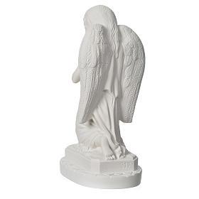Anjo mãos juntas 28 cm mármore branco s8