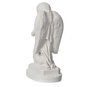 Anjo mãos juntas 28 cm mármore branco s4