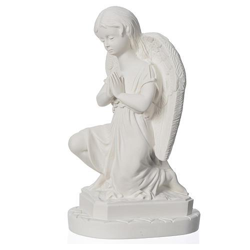Anjo mãos juntas 28 cm mármore branco 2