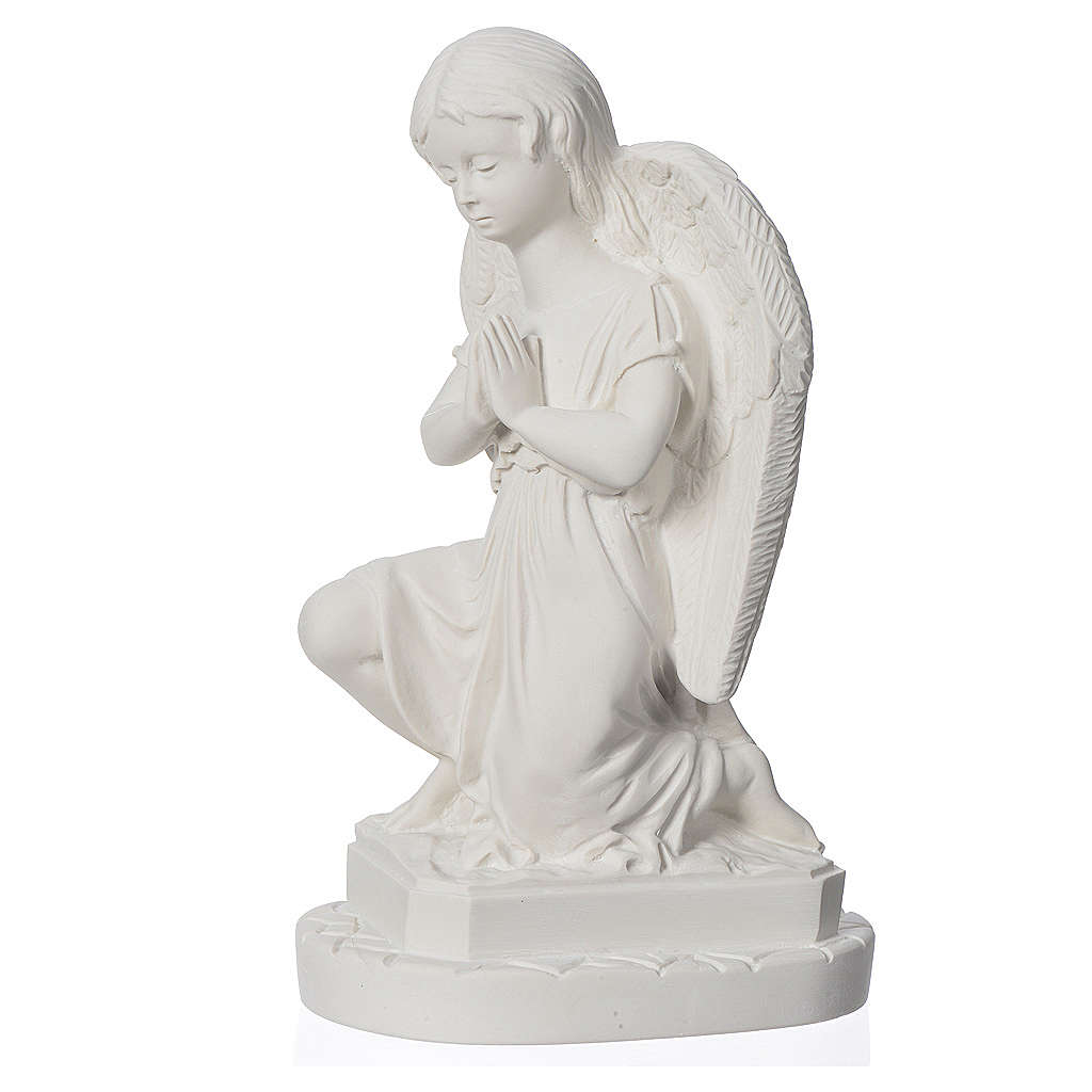 Angel with hands joined in reconstituted Carrara marble 11,02in 4