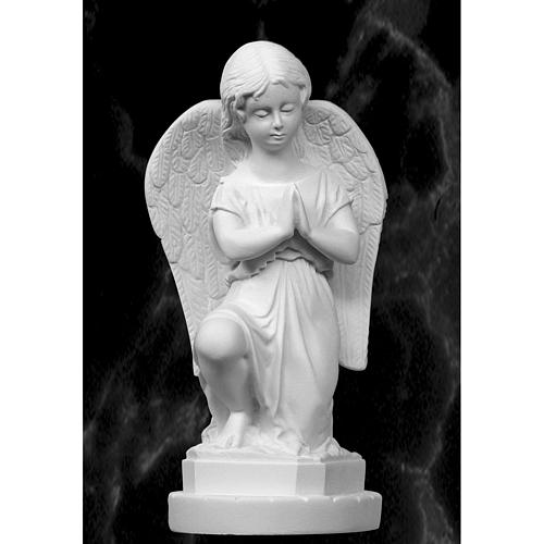 Angel with hands joined in reconstituted Carrara marble 11,02in 1