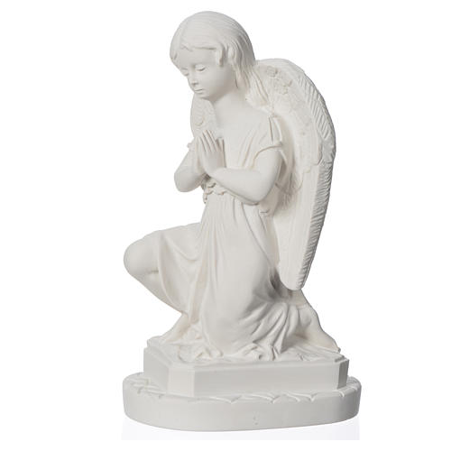 Angel with hands joined in reconstituted Carrara marble 11,02in 7