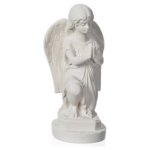 Angel with hands joined in reconstituted Carrara marble 11,02in 2