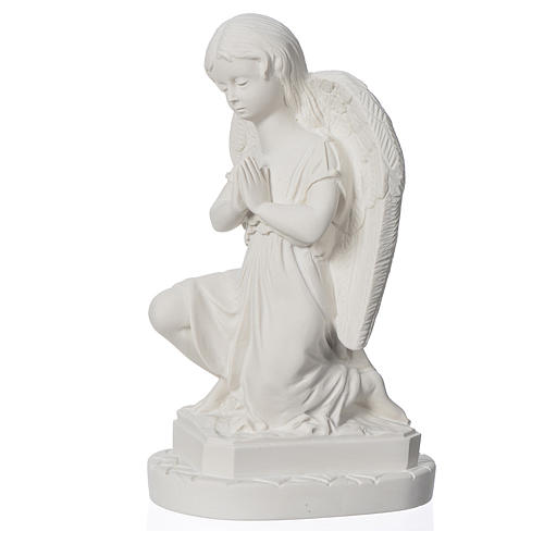 Angel with hands joined in reconstituted Carrara marble 11,02in 3