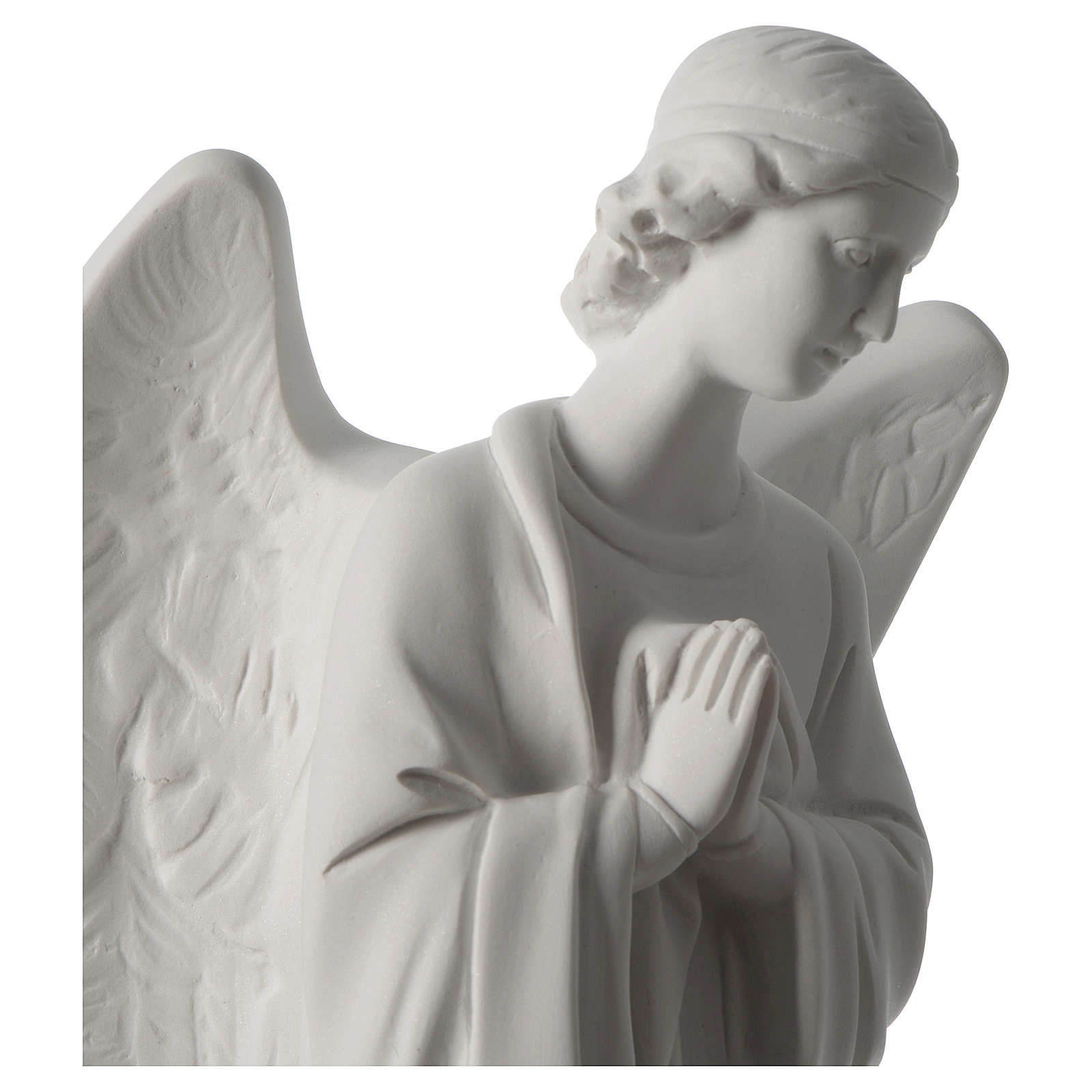 Angel with hands on heart, left, in white Carrara marble 45 cm 4