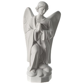 Angel with hands on heart, left, in white Carrara marble 45 cm s1