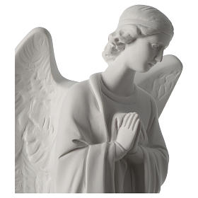 Angel with hands on heart, left, in white Carrara marble 45 cm s2