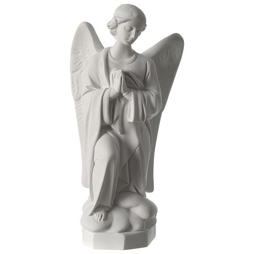 Angel with hands on heart, left, in white Carrara marble 45 cm 1