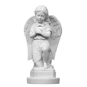 Imagens em Pó de Mármore de Carrara: Anjinho mãos no coração 28 cm mármore branco