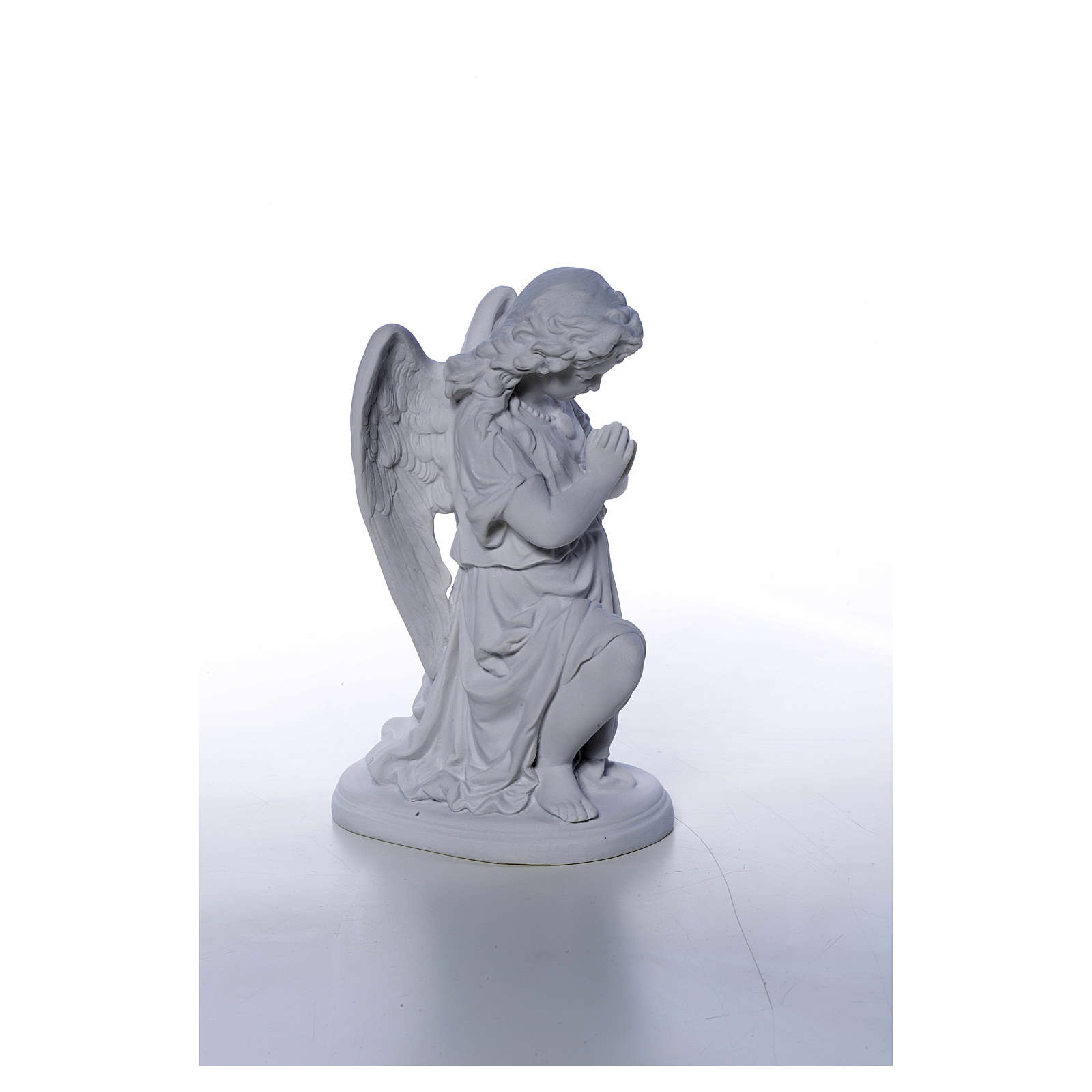 Angel with hands joined in Carrara marble dust 10,24in 4