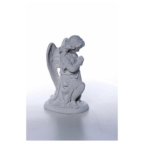 Angel with hands joined in Carrara marble dust 10,24in 5