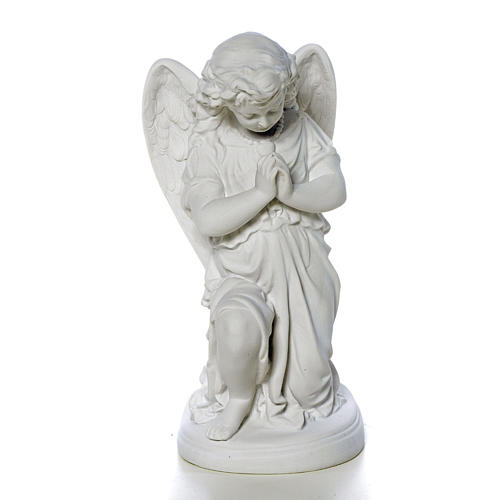 Angel with hands joined in Carrara marble dust 10,24in 1