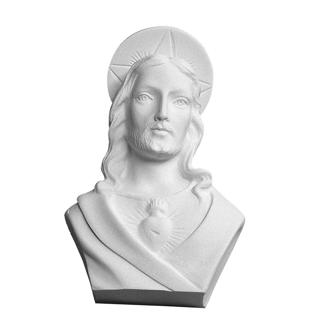Christ with aureole, reconstituted carrara marble bust, 12 cm 4