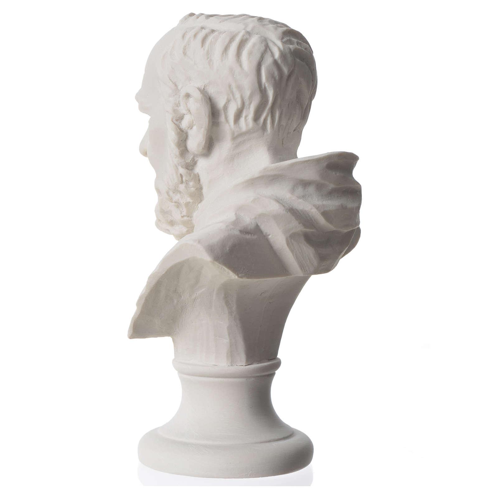 Padre Pio, composite Carrara marble bust, 14 cm 4