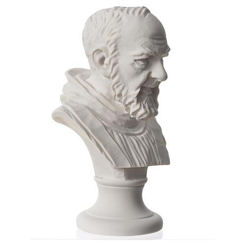 Padre Pio, composite Carrara marble bust, 14 cm 5