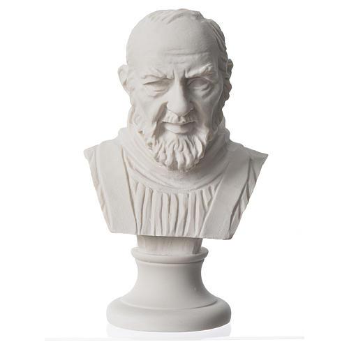 Padre Pio, composite Carrara marble bust, 14 cm 1