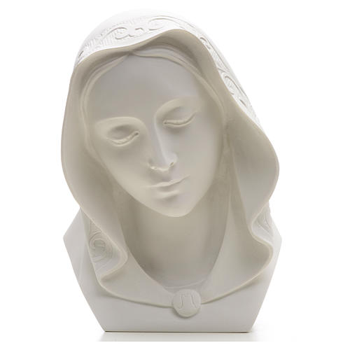 Our Lady, reconstituted carrara marble bust, 28 cm 4
