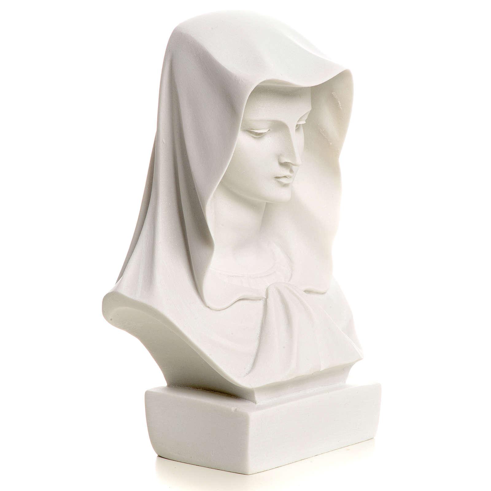 Popiersie Matki Bożej marmur biały 12 cm 4