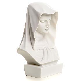 Popiersie Matki Bożej marmur biały 12 cm s5