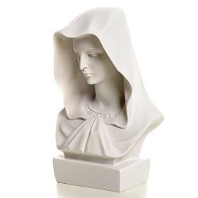Popiersie Matki Bożej marmur biały 12 cm s3