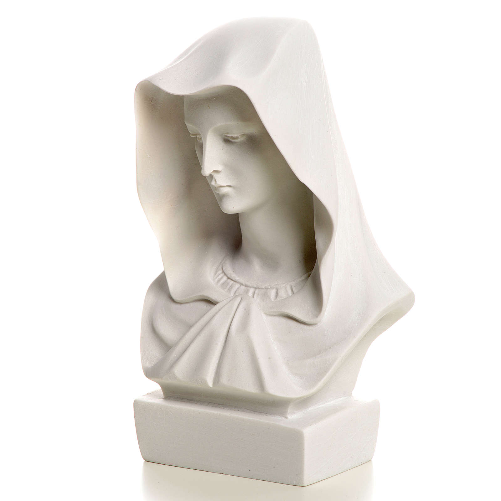 Our Lady, reconstituted carrara marble made bust, 12 cm 4