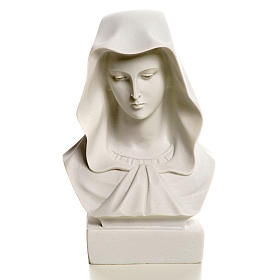 Our Lady, reconstituted carrara marble made bust, 12 cm s4