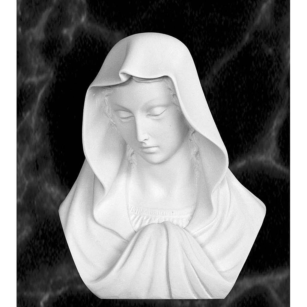 Our Lady, reconstituted carrara marble bust, 16 cm 4