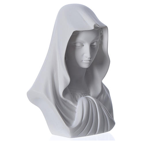 Our Lady, reconstituted carrara marble bust, 16 cm 3
